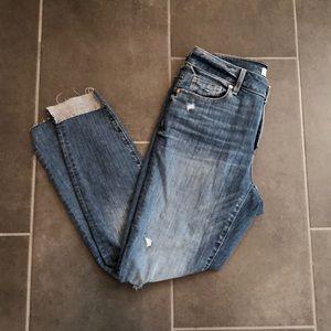 LOFT Distressed Uneven/Unhemmed Ankle Jeans